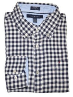 Tommy Hilfiger Men Custom Fit Logo Plaid Shirt (L, White