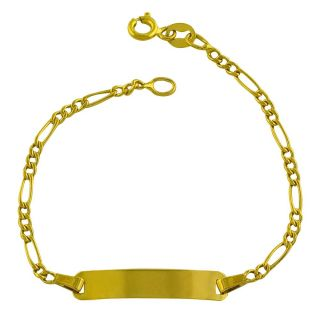14k Yellow Gold Figaro Baby Identification Bracelet