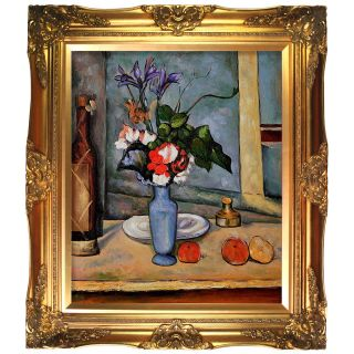 Cezanne La Vase Bleu Hand painted Framed Canvas Art