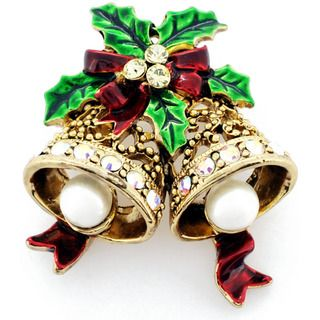 Goldtone Crystal Christmas Bell and Bow Brooch