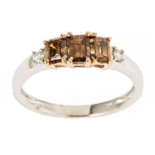Yach 14k Two tone Gold 1 1/10ct TDW Brown and White Diamond Ring (I
