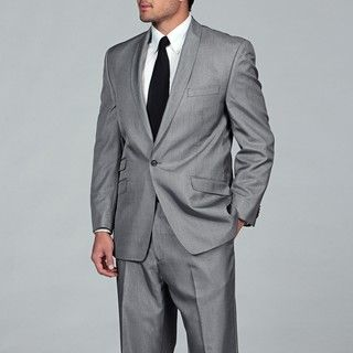 Sean John Mens Black and White Tic Suit