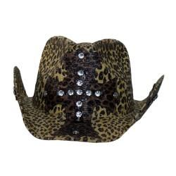 Peter Grimm Womens Rhinestone Cross Straw Cowboy Hat