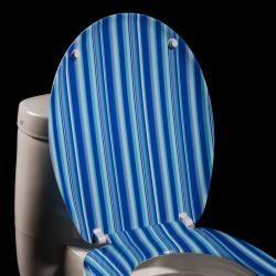 Blue Cabana Stripe Designer Melamine Toilet Seat Cover