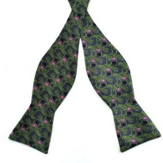 Pensee Mens Self Bow Tie Grey & Green & Pink & Black