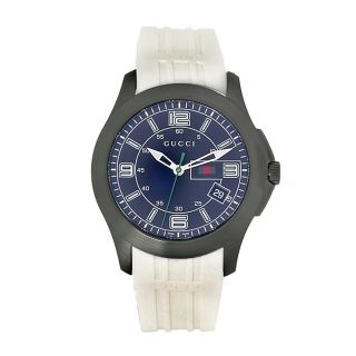 Gucci Mens Timeless White Rubber Strap Watch