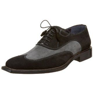 2648Mezlan Mens Biaggi Oxford,Black/Grey,7.5 M US Shoes