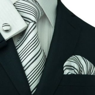 Mens Striped Black & White 100% Silk Tie Set 111S