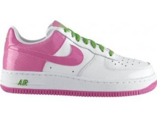 Force 1 (GS) Youth Basketball Shoes (White/Gym Green Apple) 5Y: Shoes