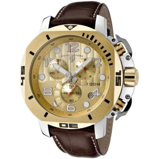 Swiss Legend Mens Scubador Gold Dial Brown Leather Chronograph Watch