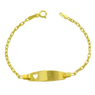 14k Yellow Gold Baby Identification Heart Bracelet