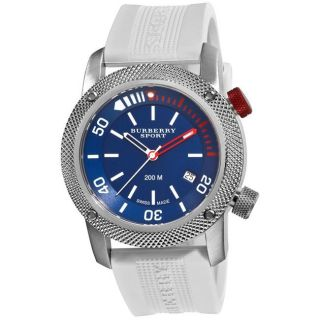 Burberry Mens Sport Diving White Rubber Strap Watch