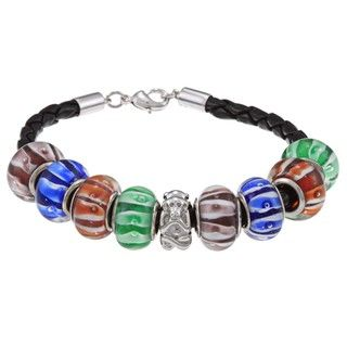 La Preciosa Silvertone Multi Colored Glass Beads Leather Bracelet