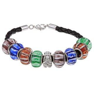 La Preciosa Silvertone Multi Colored Glass Beads Leather Bracelet