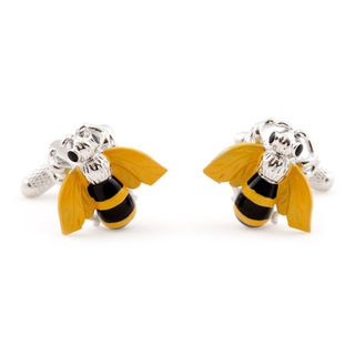 Cuff Daddy Silvertone Busy Bee Cuff Links