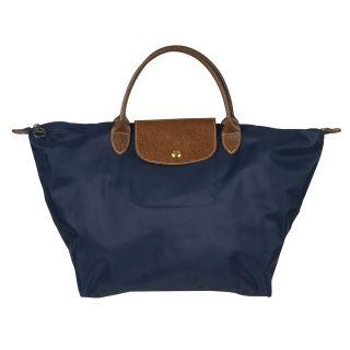 Longchamp LePliage Navy Nylon Brown Leather Handle Travel Bag