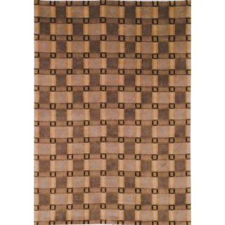 Hand knotted Lexington Plaid Beige Wool Rug (5 x 8)