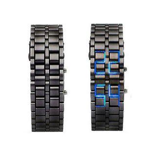 Black Stainless Steel Womens Lava LED Digital Bracelet Watch