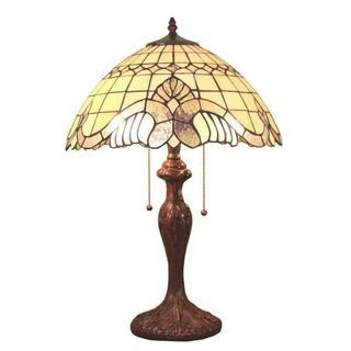 Tiffany style Pearl White Baroque Table Lamp