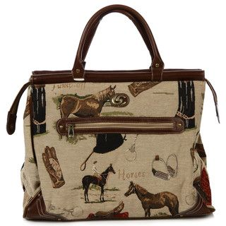 Oleg Cassini Pony Up Tapestry Dowel Rod Tote Bag