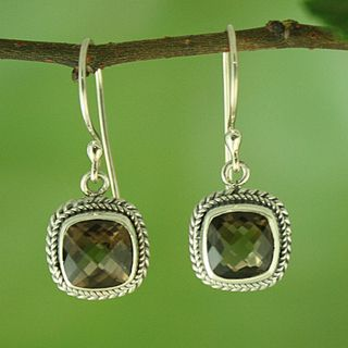Sterling Silver and Smoky Topaz Square Rope Edge Dangle Earrings