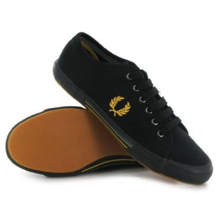 com Fred Perry Vintage Tennis Canvas Black Gold Mens Trainers Shoes