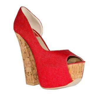Fahrenheit Womens Anne 18 Red Canvas Chunky Heel