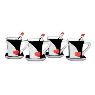 Threestar Love Heart Unique Coffee Mugs/ Tea Cups (Set of 4