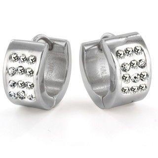 West Coast Jewelry Stainless Steel Pav? Cubic Zirconia Stud Cuff