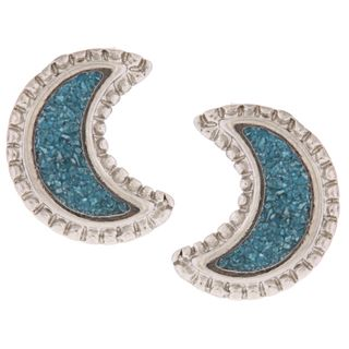 Southwest Moon Crescent Moon Turquoise Inlay Post Earrings