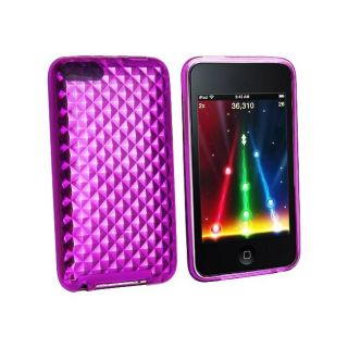 Eforcity Clear Purple Diamond TPU Rubber Case for iPod Touch Gen 3