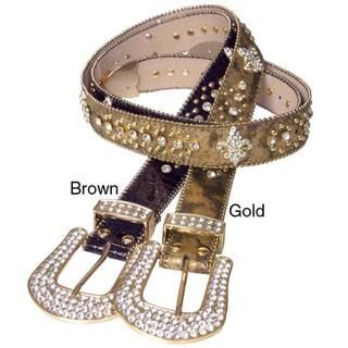 Journee Collection Womens Rhinestone and Stud Embellished Belt