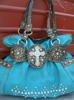 Western Rhinestone Crystal Cross Cinch Handbag Purse
