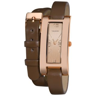 Vernier Womens Gold Tone Rose Double Wrap Leather Strap Watch