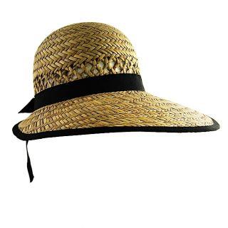 H2W Womens Black Strap Straw Hat