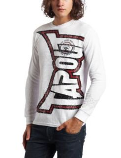 TapouT Mens Invert Thermal Henley Shirt, White, X Large