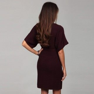 London Times Womens Aubergine Sweater Dress