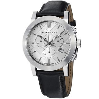 Burberry Womens Large Check Silver Dial Chronograph Strap Watch