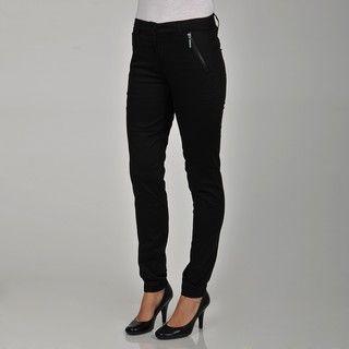 Apart Womens Black Skinny Zipper Pocket Pants