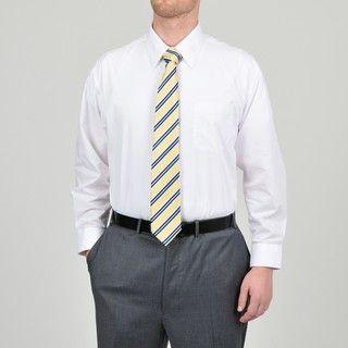 Alexander Julian Colours Mens White Dress Shirt and Stripe Tie Set