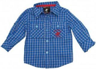 Toddler Boy Blue Plaid Roll Up Long Sleeve Shirt   Beverly