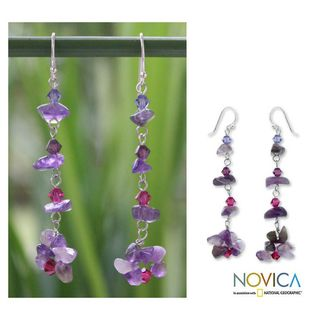 Sterling Silver Colorful Waterfall Amethyst Earrings (Thailand