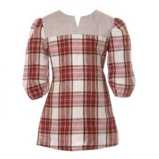 Ellovie Kids Red and Cream Tartan Check Tunic Dress