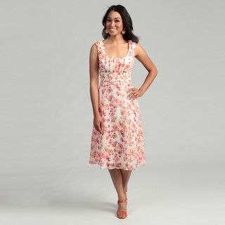 Connected Apparel Womens Coral Floral Dress
