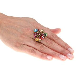 Betsey Johnson Goldtone Evil Eye Charm Fashion Ring