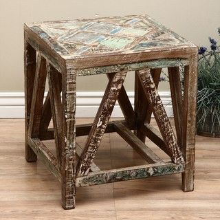 Reclaimed Wood Emperor Square Stool (India)