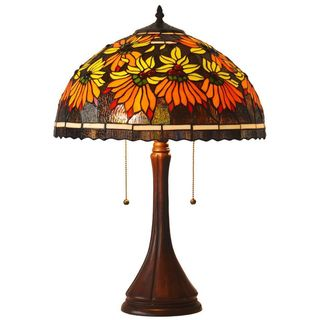 Tiffany Style Poinsettia Table Lamp