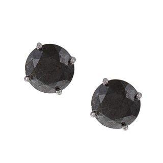 14k White Gold 4ct TDW Black Diamond Stud Earrings