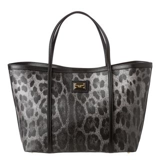 Dolce & Gabbana Grey/ Black Leopard Print Tote Bag