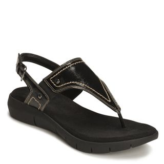 A2 by Aerosoles Womens Wip It Up Black Faux Leather Sandals